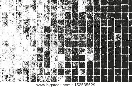 Distressed overlay texture of old tile grunge background. abstract halftone vector illustration.