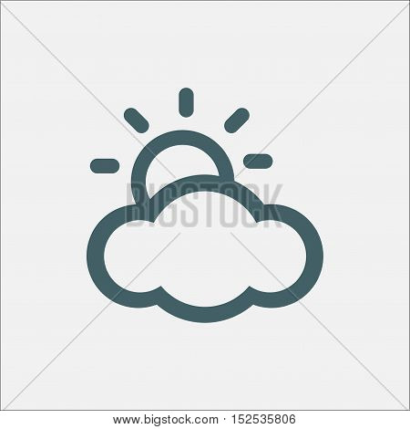 sun peeks out of cloud. weather vector icon isolated on white background