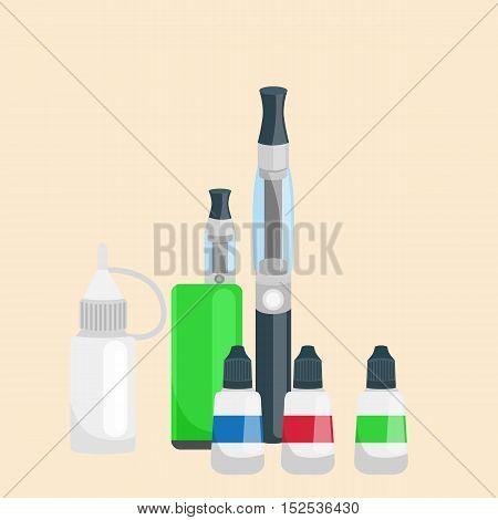 electronic cigarette leather and metal bottled liquid for vapor shop. alternative smoking vector illustration.
