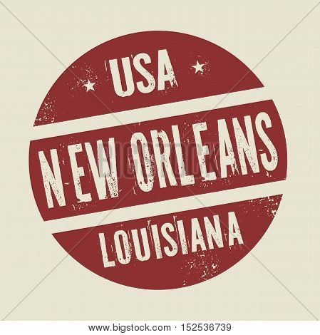 Grunge vintage round stamp with text New Orleans Louisiana vector illustration