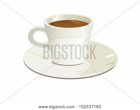 isolated white cup of coffee or tea, vector