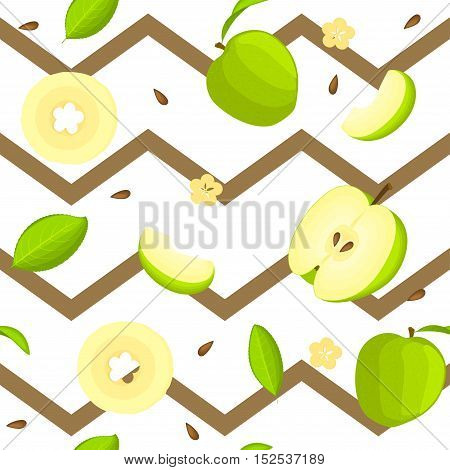Seamless vector pattern of bright fruit. Striped zig-zag background with delicious green apples, whole, slice, half, slice, leaves.