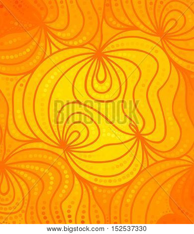 Abstract color background of doodle hand drawn lines. Gold floral pattern. Wave yellow wallpaper