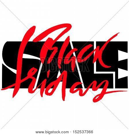Black Friday Sale hand drawn grunge lettering. Calligraphy element for logo, banners, labels, badges, prints, posters, web. Vector illustration