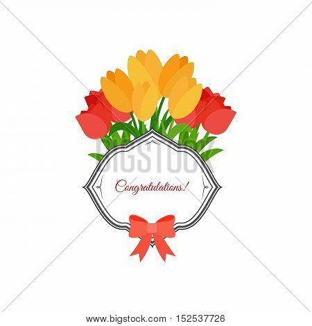 Congratulations label design with pink and yellow tulips and bow, isolated vector element