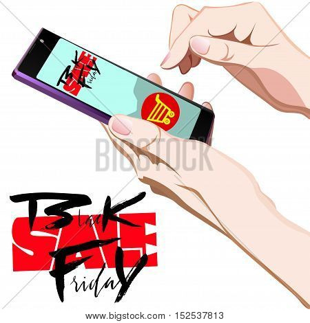 Vector background of online shoping. Vector illustration. Human finger choosing smart phone and add to cart on mobile smartphone device. Black Friday lettering