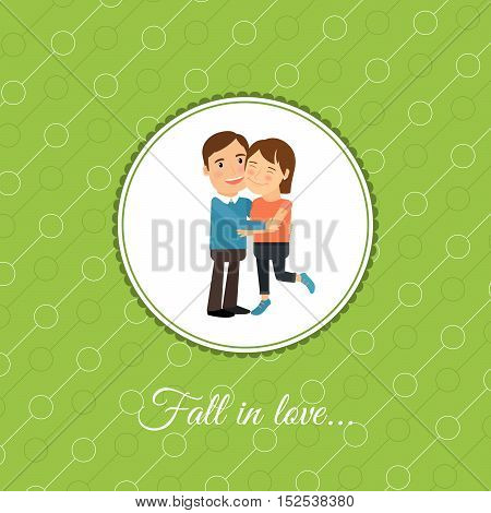 Happy fall in love couple, valintines day card template with green background. Vector illustration