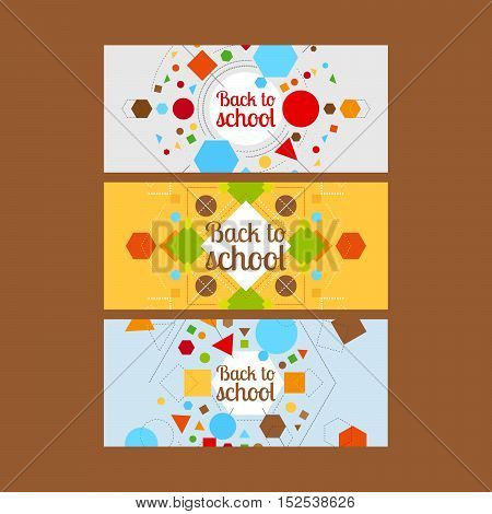 Back to school horizontal banners with geometric shapes. Vector illustration