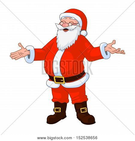Jolly plump Santa Claus with divorced hands. Vector Illustration