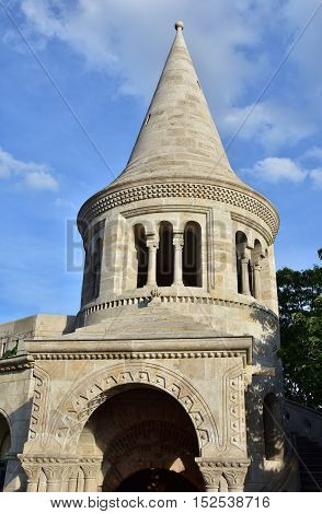 Characteristic conical tower of Fisherman's Bastion in Budapest a panoramic terrace built in romanesque style at the end of 19th century