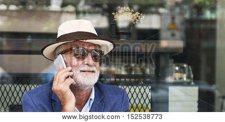 Senior Man Coffee Shop Communication Connection Technology Concept