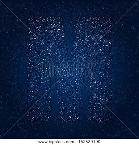 Vector abstract alphabet of stars. The starry sky. Eps 10.