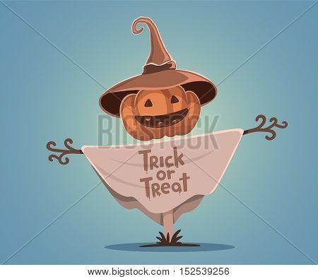 Vector Halloween Illustration Of Decorative Scarecrow With Head Orange Pumpkin With Eyes, Smile, Tee