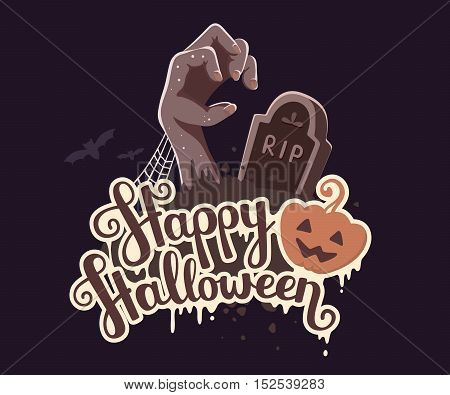 Vector Halloween Illustration Of Zombie Hand In A Graveyard With Headstone, Bats, Text And Orange Pu