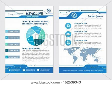 Layout template size A4 Front page and back page Line Circuit Vector design