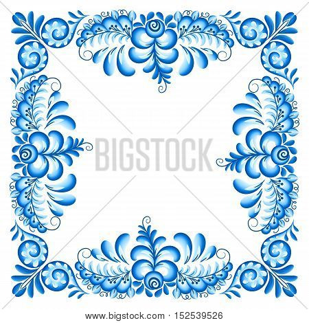 Turquoise blue vector ornate square frame in Russian Gzhel style