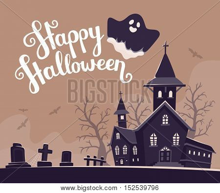 Vector Halloween Illustration Of Haunted House, Cemetery, Bats On Gray Background With Trees, Text,