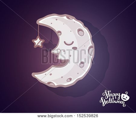 Vector Halloween Illustration Of Half Light Moon With Craters, Star And Text Happy Halloween On Dark