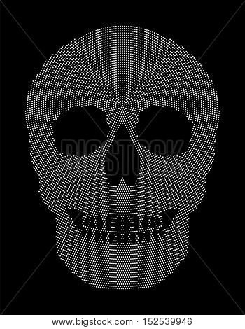 Skull radial dot pattern. Symbol of the bone structure of an head of a skeleton. Formed by white dots beginning from the place of the third eye. Abstract illustration on black background.