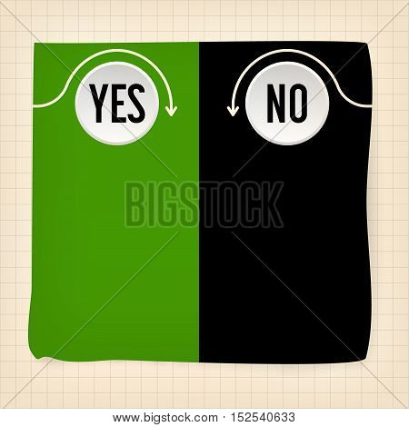 Colored slip of paper and the words yes no