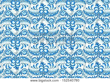 Turquoise blue vector floral seamless pattern in Russian Gzhel style