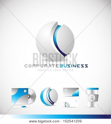Grey corporate business sphere 3d media games vector logo icon sign design template identity