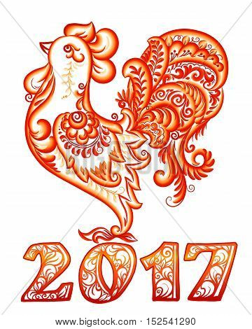 Vector red rooster in brush painted ornate style, Chinese New Year symbol with ornamental 2017 year's number