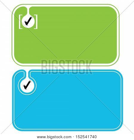 Colored business cards and black check box