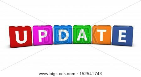 Update sign and text on colorful cubes 3D illustration on white background.