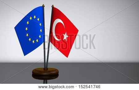 Turkish and European Union desk flags 3D illustration.