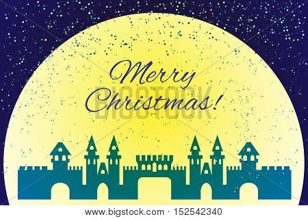 Silhouette vector illustration. Christmas festive blue castle.