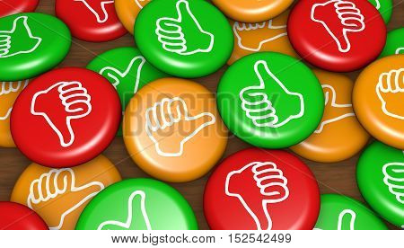 Customer satisfaction feedback badges business and marketing concept 3d illustration.