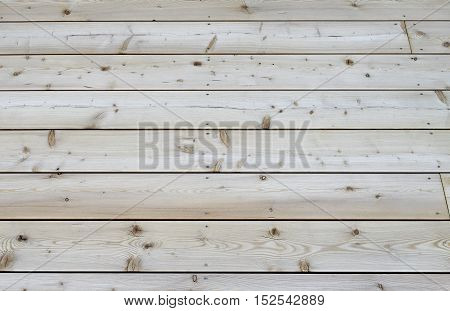 Section of a new rustic terrace floor built of pine tree planks.