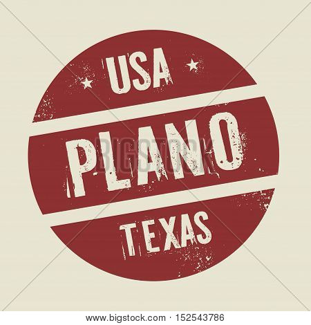 Grunge vintage round stamp with text Plano Texas vector illustration