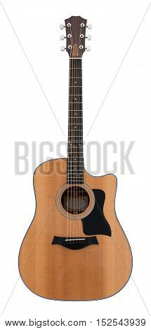 Wooden Classical Acoustic Guitar Isolated on a White Background