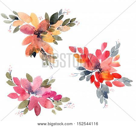 Watercolor painted flowers leaves. Hand drawn flowers.