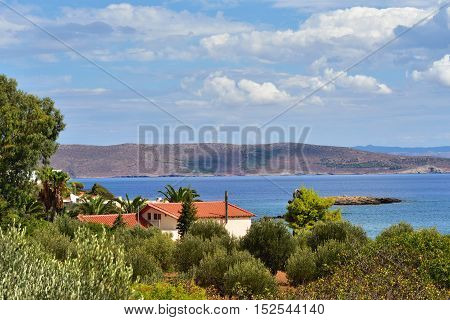Beautiful landscape of Attica Coast of Aegean sea. Greece