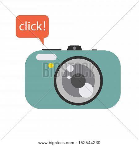 Photo digital camera with click speech bubble. Camera vector flat style illustration.
