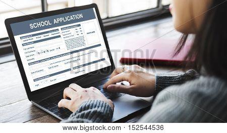 School Application Form Academic Concept