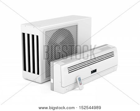 All parts of modern split system air conditioner on white background, 3D illustration