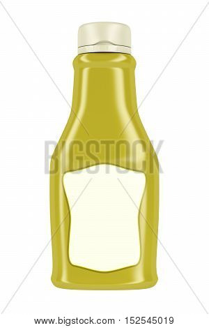 Bottle for mustard or mayonnaise isolated on white background. 3D illustration