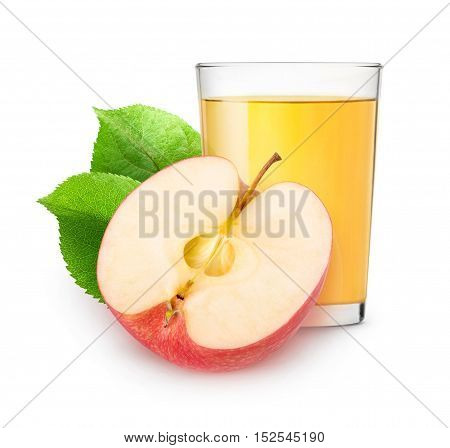 Isolated Apple Juice And Half Of Fruit