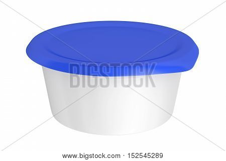 Round plastic packaging for variety types of foods, 3D illustration