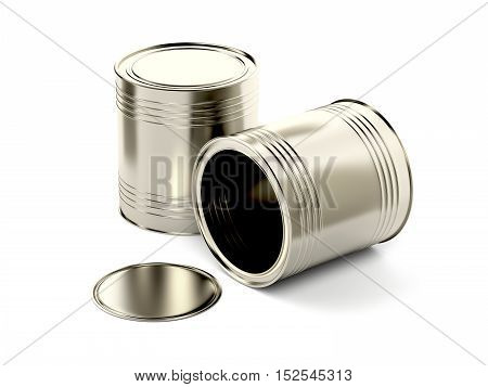 Two tin cans on white background, 3D illustration