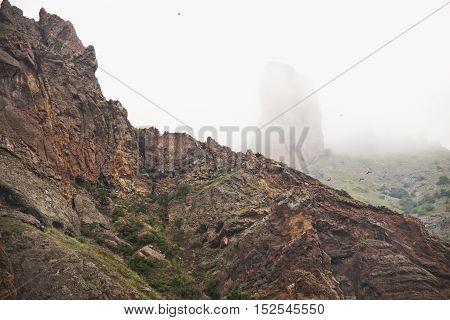 Karadag reserve in Crimea. Rocky mountain landscape