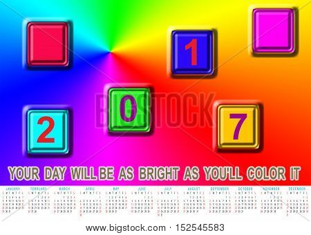 Wallpaper with bright spectrum of colors and calendar