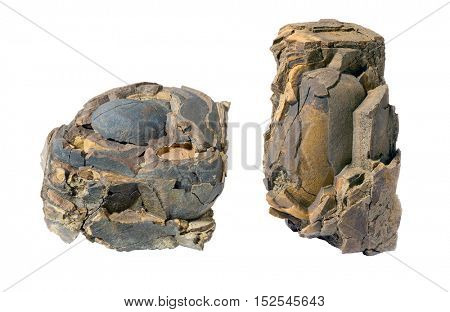 Two old stones isolated on white background.