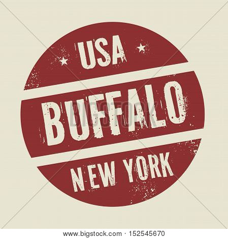 Grunge vintage round stamp with text Buffalo New York vector illustration