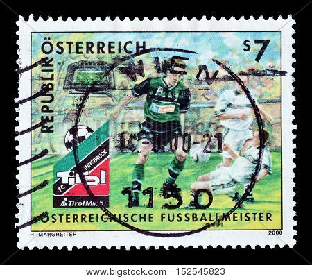 AUSTRIA - CIRCA 2000 : Cancelled postage stamp printed by Austria, that shows Football.