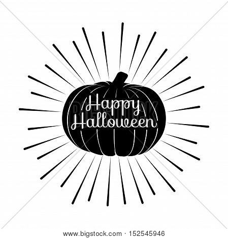 Hand drawn Halloween label with textured pumpkin vector illustration and Happy Halloween lettering. Greeting Card